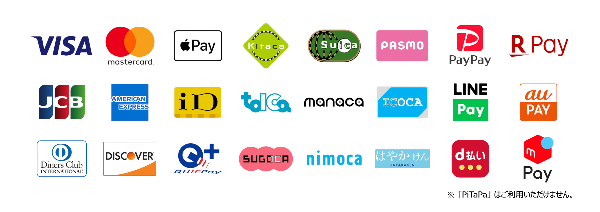 VISA / Master / JCB / AMEX / Diners / DISCOVER / ApplePay / iD / QUICPay / 交通系電子マネー / PayPay / LINE Pay / d払い / 楽天ペイ / au PAY / メルペイ